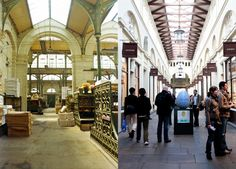 Market Hall, Covent Garden, London, in 1973 when it was still a market (L), and today, filled with shops and restaurants (R).