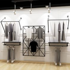 Boutique Cheap Retail Black Decorative Wall Display Shelf For Clothing - Boutique Store Fixtures Manufacuring, Retail Shop Fitting Display Furniture Supply