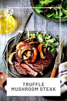 Truffle Mushroom Steak - Harassed but happy mommy blogger Unique Recipes, Great Recipes, Dinner Recipes, Favorite Recipes, Delicious Recipes, Healthy Recipes, Ethnic Recipes, Dinner Ideas, Healthy Food