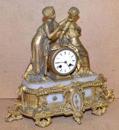 J Marti Gilt Spelter and Onyx 8 Day Striking Mantel Clock