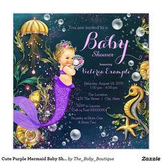 Cute Purple Mermaid Baby Shower 5.25x5.25 Square Paper Invitation Card