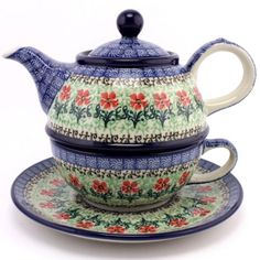 $72.99 Meadow and blue sky, Slavica Polish Pottery, Teapot and Cup with Saucer #140