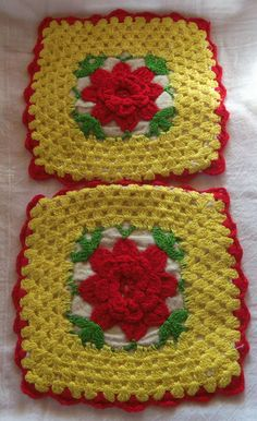 Vintage Red Rose Hand Crochet Yellow Hot pads