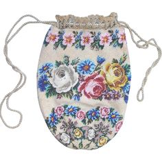 antique Beaded Purse with beautiful flowers. with original drawstring and lining, outstanding detail and colors