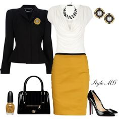 career outfit - black jacket, yellow pencil skirt