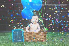 First birthday picture with fun confetti