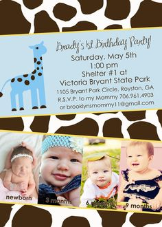 Giraffe Themed Birthday Party Invitation - Digital File. $15.00, via Etsy.