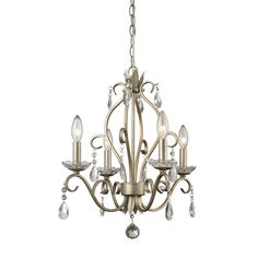 Z-Lite 424AS 4 Light Mini Chandelier Princess Chandeliers Collection Antique Sil #ZLite