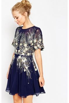 Dames - ASOS Gold And Sparkle Mesh Skater Dress