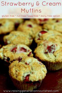 Strawberry & Cream Muffins :: Gluten, Nut, + Egg Free With Dairy Free Option