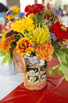 Floral centerpiece at a vintage circus birthday party! See more party ideas at CatchMyParty.com!
