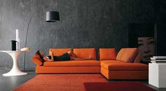 gray wall and living room sofa in orange color