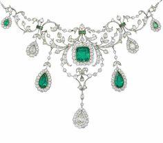 A belle époque emerald and diamond necklace,