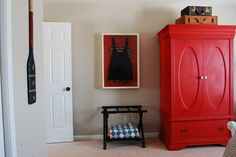 """Wall paint """"Revere Pewter"""" Benjamin Moore Stunning with the red armoire paint """"Emperors Silk"""" Annie Sloan Chalk Paint Wardrobe Furniture, Kids Bedroom Furniture, Furniture Making, Painted Furniture, Annie Sloan Chalk Paint Projects, Red Chalk Paint, Armoire Decorating, Decorating Ideas, Revere Pewter Paint"""
