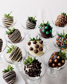 Chocolate-Covered Strawberries - A dozen perfectly ripe strawberries are dipped in delectable Belgian chocolate and decorated with contrasting chocolate drizzles or topped with mint, butterscotch, cocoa, and caramel chocolate chips; candy; and nuts. Each gift-boxed order includes four of each flavor: milk chocolate, dark chocolate, and white chocolate.