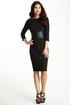 Nue by Shani Boatneck Faux Leather Waist Dress by Last Chance: Winter Wardrobe on @HauteLook