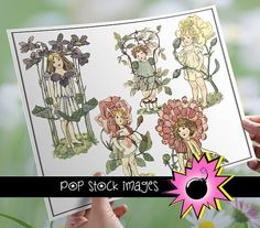 Digital Images Girls with Flowers - Vintage Illustrations Flowers & Girls - 24 Vintage Digital Clipart Images - Instant Download - Floral