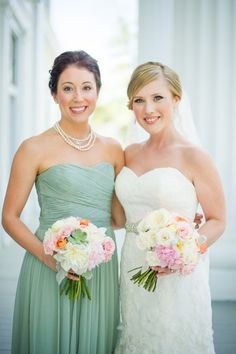 Brittany and Ryan Photo By Scobey Photography - succulent in bouquet, peach, pink and celadon bouquet, peach and mint wedding, j. crew bridesmaid dress, fit n flare lace wedding dress, sweetheart neckline wedding dress