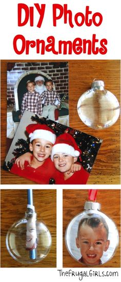 Deck the halls and trim the trees this Christmas with some super-cute DIY Photo Ornaments! These also make fabulous homemade Christmas gifts! What You'll Need: Clear Glass Ball ornaments Photo . Diy Photo Ornaments, Christmas Ornament Crafts, Kids Christmas, Holiday Crafts, Holiday Fun, Glitter Ornaments, Ball Ornaments, Christmas Pictures, 40 Diy Gifts