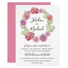 Succulent & Cactus Wreath Floral Couple's Shower Card - watercolor gifts style unique ideas diy