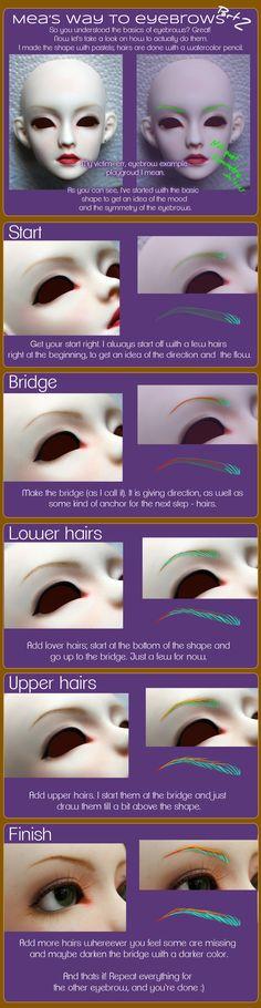 Face-up eyebrow Guide Pt. 1 by Meanae on DeviantArt Sculpting Tutorials, Doll Making Tutorials, Making Dolls, Doll Repaint Tutorial, Doll Tutorial, Clay Dolls, Bjd Dolls, Doll Crafts, Diy Doll