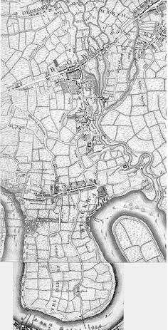 1745 map Poplar, Bow, Isle of Dogs  London