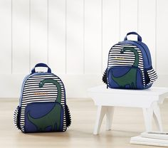 Striped Critter Navy Blue Dino Backpack