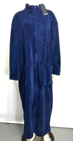 Alexander Del Rossa Womens XL Navy Blue Fleece Soft Zip-Front Bathrobe NEW   185f32a80