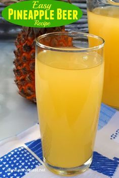 Homemade Pineapple Beer is a refreshing South-African traditional drink. Non-alcoholic or leave the Beer to ferment longer to make an alcoholic version Braai Recipes, Easy Drink Recipes, Beer Recipes, Quick Dinner Recipes, Alcohol Recipes, Side Recipes, Delicious Recipes, Homemade Ginger Ale, Homemade Wine