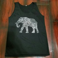black and white elephant muscle tee size small black and white elephant muscle tee top size small  Please don't ask me to model I will not fit because of my watermelon tummy   If you have any questions please ask ;)) Tops Muscle Tees