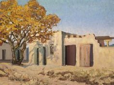 Carl - 1944 Southwestern ChurchSigned 'Carl Redin' lrOil on board 14 x 16 inchesAll works are framed unless. Adobe House, City Scapes, Southwest Art, First Art, New Mexico, Lovers Art, Enchanted, Different Colors, Landscapes