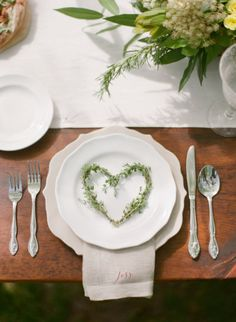 Simple setting with herb heart wreaths