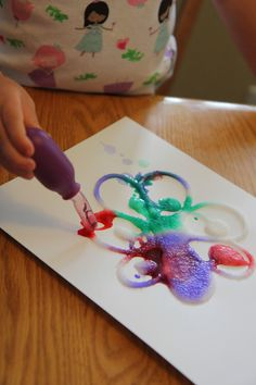Toddler Approved!: Cool Science: Spring Salt Painting for this activity use: table salt, white glue, liquid water colour paints (you could also use water with food coloring added), paper, paintbrushes or pipettes,a tray