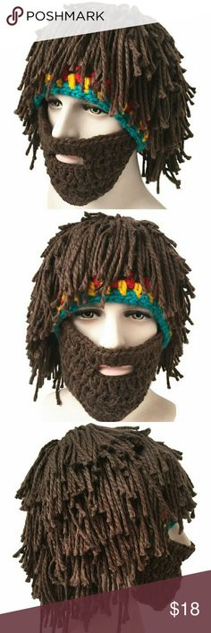Beard Hat Creative Mask Material: cotton/wooly knitted  Colorful Knitting wig hat and cool warm Roman cosplay beanie  Weave,Tassels and handmade crochet Knitting wool  Mask hat with whiskers, woolen wig and Roman knight helmet knitting hat  One size fits most, funny gifts for freinds, family, Christmas gifts etc Accessories Hats