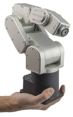 Harmonic Drive will be demoing the robot arm at the Robotics Summit and Showcase. The made by Montreal-based Mecademic, is the world's smallest industrial robot arm, and it has a repeatability of 5 μm. Mechanical Arm, Mechanical Design, Mechanical Engineering, Robot Gripper, Robot Controller, Robotics Projects, 3d Projects, Project Ideas, Industrial Robots