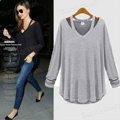 Wholesale fashion 2xl 3xl 4xl 5xl plus size women clothings cotton casual slim 2014 autumn winter t shirts top grey black-in T-Shirts from Apparel & Accessories on Aliexpress.com | Alibaba Group