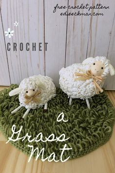 """Pick any yarn you have on hand to crochet this charming """"grass"""" mat for all your Spring decor needs. Perfect for Easter baskets! Includes a video tutorial for Loop Stitch. Crochet Toys, Free Crochet, Easter Crochet Patterns, Spring Projects, Welcome Spring, Yarn Over, Cool Fabric, Easter Baskets, Single Crochet"""