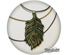 Leather Peacock Feather by Minikem on Etsy, $42.00 Wing, statement piece, boho, green
