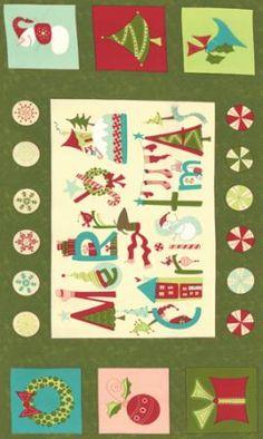 White Trees 100/% Cotton Multiple Sizes Joyeux Christmas Makower Fabric