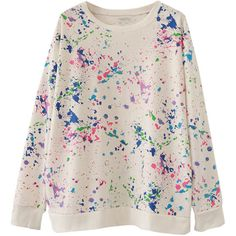 Womens Unique Crewneck Fireworks Printed Pullover Sweatshirt White (€21) ❤ liked on Polyvore featuring tops, hoodies, sweatshirts, white, sweatshirt pullover, white pullover, pullover sweatshirts, sweater pullover and sweat tops