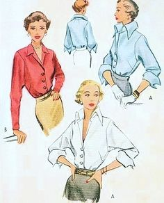 1940s Stunning Blouse Pattern McCall 7872 Pure Class Ultimate Wing Collar Blouse Day or Evening Bust 30 Vintage Sewing Pattern