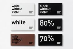 Pour la gamme traditionnel de Chocolat Factory, la couleur du packaging désigne le type de chocolat utilisé (blanc, au lait ou noir). Le packaging est minimaliste, une police sans serif assez grande dit le minimum du produit, le packaging primaire est fait d'un emballage de très grande qualité qui évoque l'élégance et le luxe.