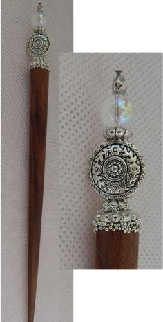 Silver Flower Beaded Wooden Hair Stick New Knitted Shawl Pin Fashion Accessories #Handmade #HairStick