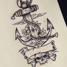 """Trabajando, creando diseños... #Drawing #ancla #tattoo #shirt #design #work"""