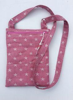 Ladies bag. Pink, white stars, denim, shoulder bag, cross body bag, handbag £20.00
