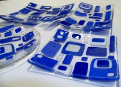Blue and white on clear art glass (full set of 3 handmade plates) round plate not included in set of 3. via Etsy