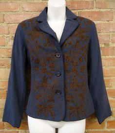 Coldwater Creek Denim Blue & Brown Embroidered & Beaded Womens Blazer  Petite Sm #ColdwaterCreek #