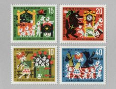 vintage stamps — The Wolf & Seven Goats from Germany, 1963