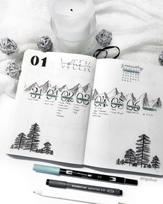 Learn how to draw mountains and pine trees with my step-by-step tutorial. Mountain and pine trees bujo weekly spread. For January I use my mountain theme. First week of January, January weekly spread, bujo mountain theme checklist bullet journal Bullet Journal Planner, January Bullet Journal, Bullet Journal Cover Page, Bullet Journal Spread, Bullet Journal Layout, Journal Covers, Bullet Journal Inspiration, Journal Ideas, Bujo Weekly Spread
