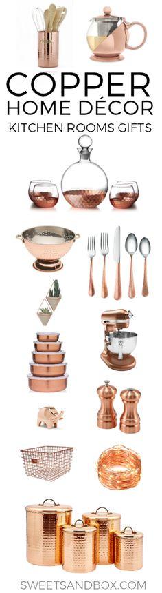 Copper Kitchen and Home Decor. Ideas for a copper bedroom accents or gift ideas. Interior design with copper decor.